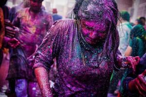 Fotografia tirada por Érico Hiller, durante o Holi - festival das cores na Índia